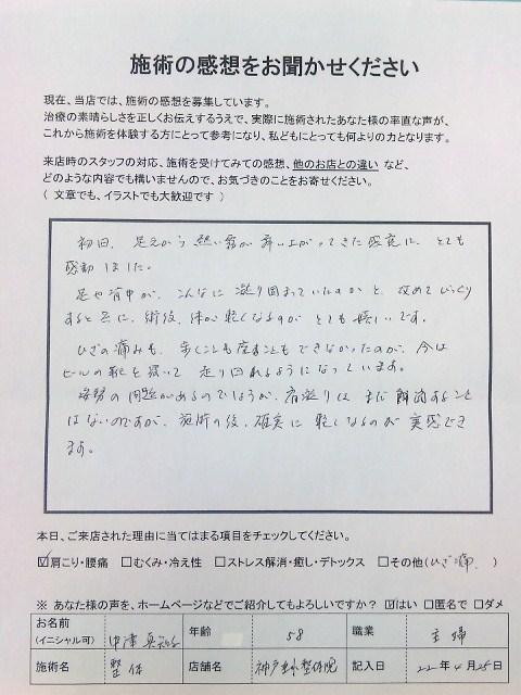 患者さまの嬉しい感想 ひざ痛 中津さま  神戸垂水整体院
