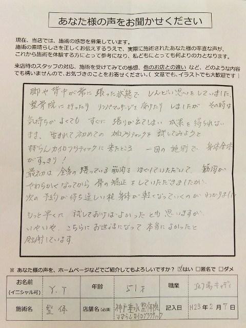 患者さまの嬉しい声 肩/背中慢性痛 ゴルフ場キャディ 神戸垂水整体院