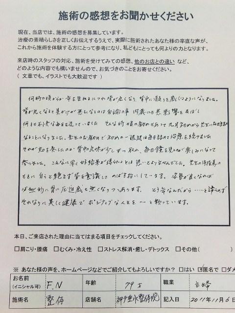 患者さまの嬉しい声 背中の緊張  神戸垂水整体院