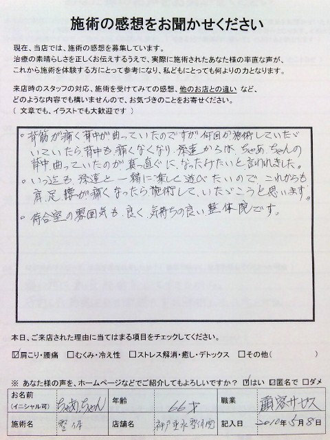患者さまの嬉しい感想 背中痛   ちゃあちゃんさま 66才 顧客サービス 神戸垂水整体院