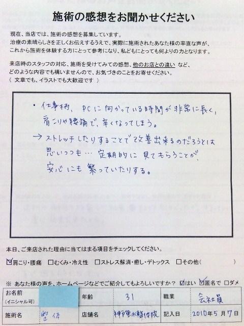 患者さまの嬉しい声 肩こり/定期メンテ 神戸垂水整体院